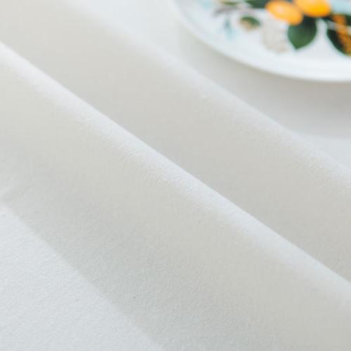 Rectangle White Plain Tablecloth Cover US