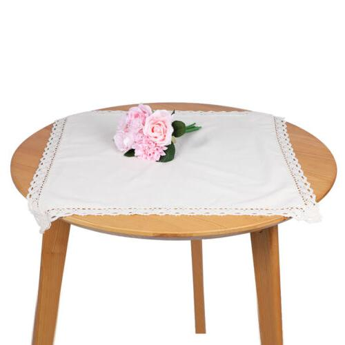 Rectangle White Plain Color Tablecloth Cotton Linen Table Co