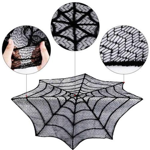 Round Lace Web Table Cloth Cover Halloween Fancy Party Lacey