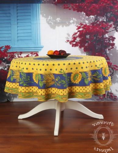 "Tournesol Yellow 70"" Round French Provencal Polyester Tablec"
