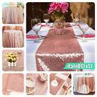 US 12''x120'' Sparkly Rose Gold Sequin Table Cloth Runner Pa