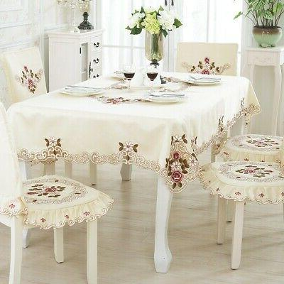 ColorBird Modern Medallion Flower Tablecloth Waterproof Whit