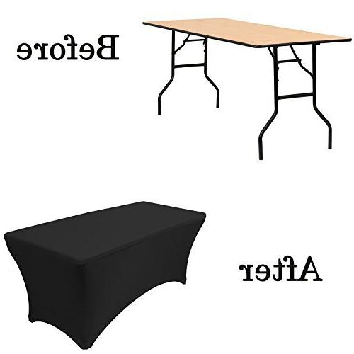 """Your Chair Covers Stretch Table Cover for 6 Tables, Length 30"""" Width x Height Fitted Tablecloth for Standard Tables Black"""