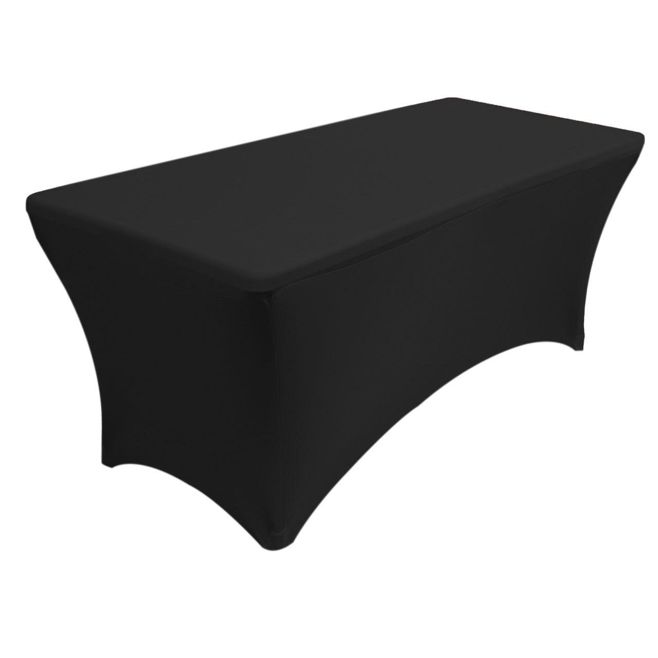 YourChairCovers 6 ft. Rectangular Stretch Tablecloth Black