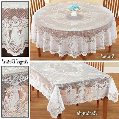 antique lace white tablecloth rectangle round table
