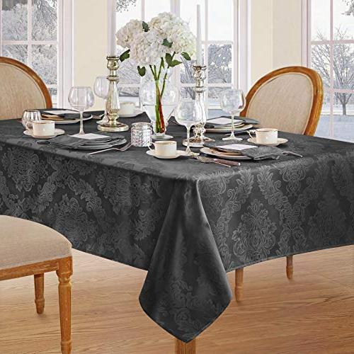 Newbridge Damask Fabric Tablecloth, No Iron, Holiday 144 Oblong/Rectangle, Gray