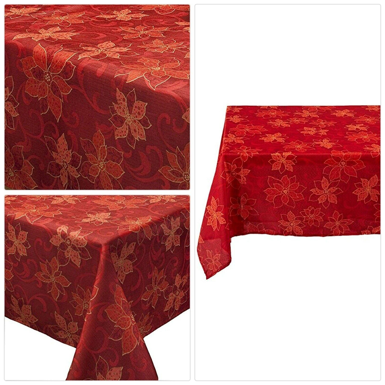 benson mills poinsettia scroll printed fabric tablecloth
