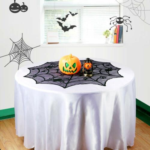 Black Lace Spiderweb Cloth Cover Window Halloween Home Decor