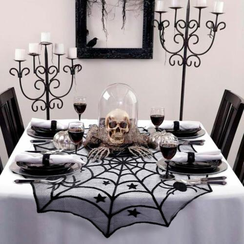 black lace spiderweb table cloth cover window