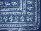 "Block Print Cotton Tablecloth 88"" x 58"" Indigo Blue"