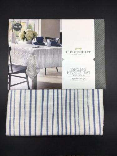 blue white oblong 60 x 84 tablecloth