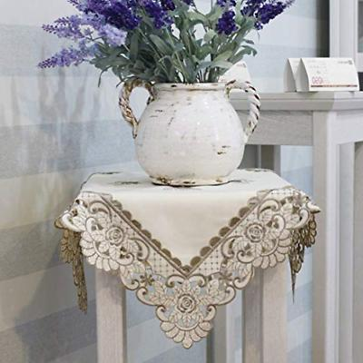 Brown flower embroidered lace cream tablecloth square New