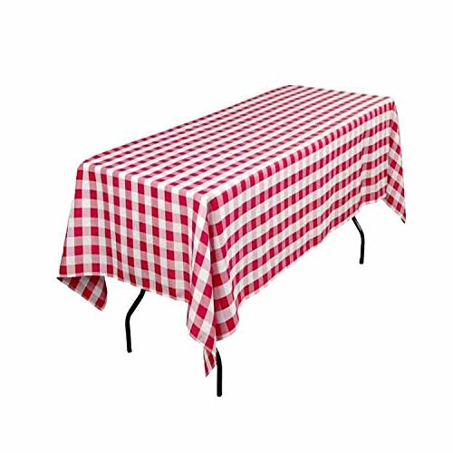 rectangular checkered tablecloth red
