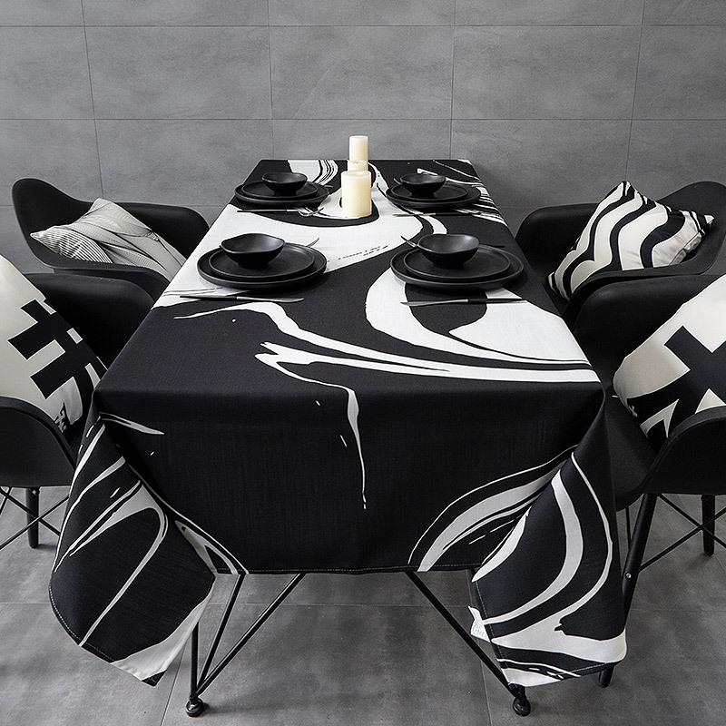 Classic Style Black and White Ripple Waterproof <font><b>Table</b></font> Dining <font><b>Table</b></font>