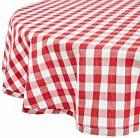"DII 70"" Round Cotton Tablecloth, Red & White Check - Perfect"
