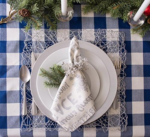 DII Plaid Square Tablecloth Family Gatherings, Indoor & Navy Cream