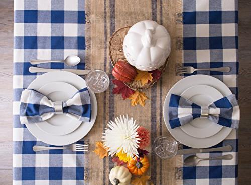 DII Cotton Check Family Dinners Indoor & Navy &