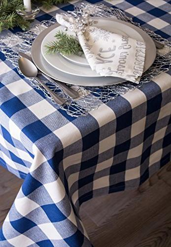 DII Cotton Buffalo Plaid Square Tablecloth Family Indoor Outdoor Parties, & Navy &