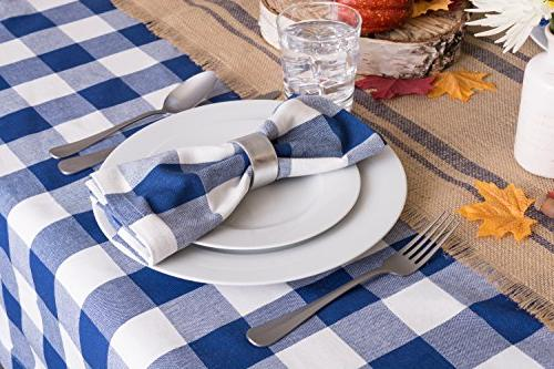 DII Buffalo Plaid Square Tablecloth Family & Navy