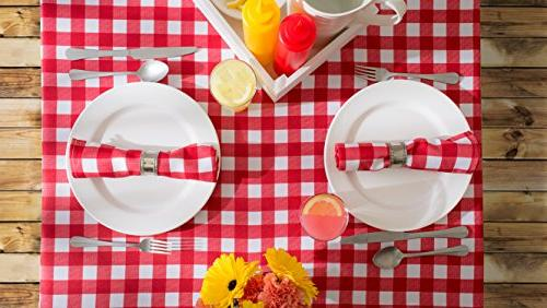 "DII 60x84"" Rectangular Tablecloth, Red Check Perfect Spring, Summer, Décor, Picnics & Potlucks or"