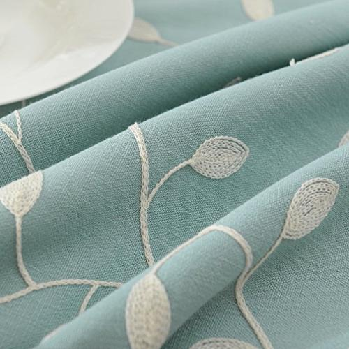 cotton linen tablecloth leaf embroidered