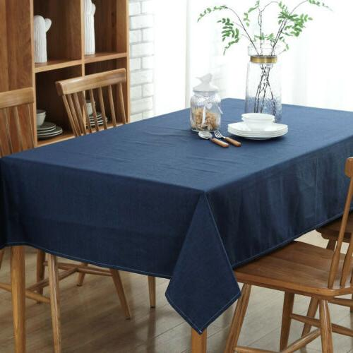 Cotton Linen Rectangular Dining Table Cover