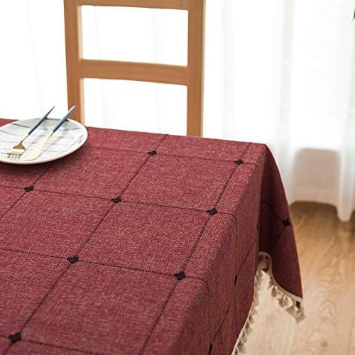 Lamberia Cotton with Square Tables Burlap Cover for Tabletop
