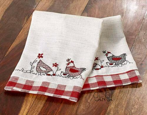 Country Linens Chicken Print Red Checkered Farmhouse