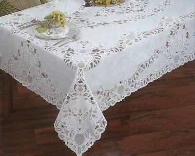 Crochet Lace Vinyl Tablecloth 60-Inch by 104-Inch Oblong Rec