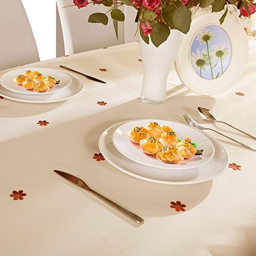 Decorative Floral Wrinkle and Resistant Tablecloths Kitchen Inch by