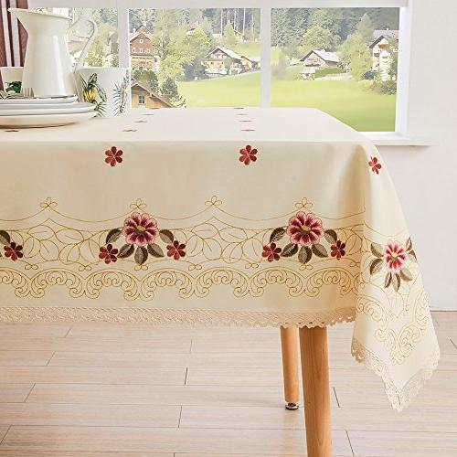 Decorative Lace Tablecloth Wrinkle Free and Stain Resistant Fabric for Kitchen Room by