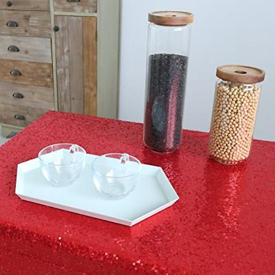 """GFCC Sequin Cloth Red 60""""x126"""" Sparkly Table Cover for"""