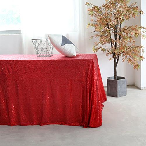 GFCC Cloth Red Sparkly Table Overlay for