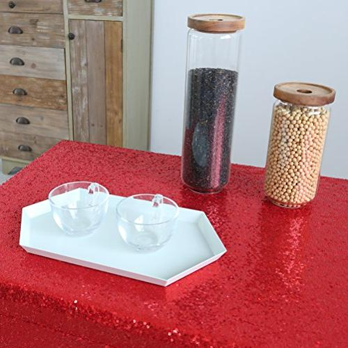 GFCC Event Cloth Red Table Glitter Overlay Baby Shower