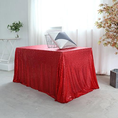 event sequin table cloth red