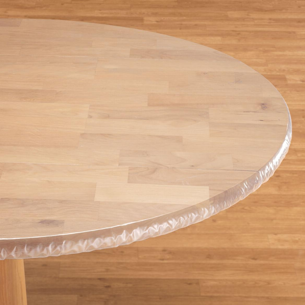 Round Tables Table Cloth & FITTED Clear Vinyl Round Oval Oblong Plastic Table Cover Cloth ~