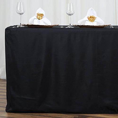 LinenTablecloth Fitted Polyester Tablecloth Black