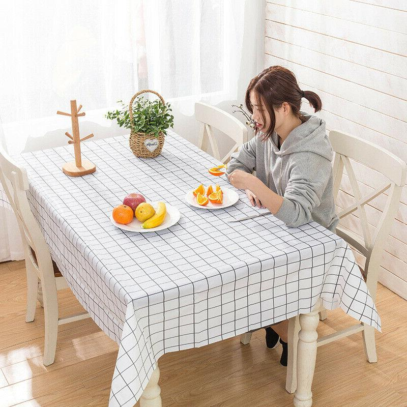 Flannel Back cover tablecloth wipe clean oblon