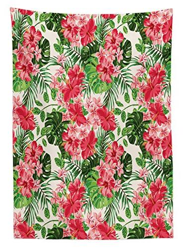 Floral Tablecloth by Tropical Botanic Flowers Leaves Dining Table X 84L Coral Hunter Green Jade