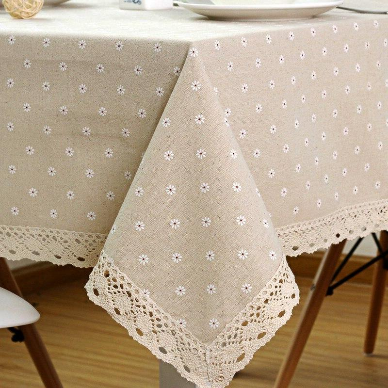 Flower Tablecloth <font><b>Linen</b></font> Cotton with Lace Dining <font><b>Table</b></font>