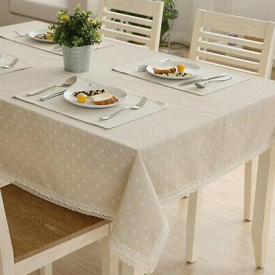 Flower Pattern Cotton Table with Lace Dining