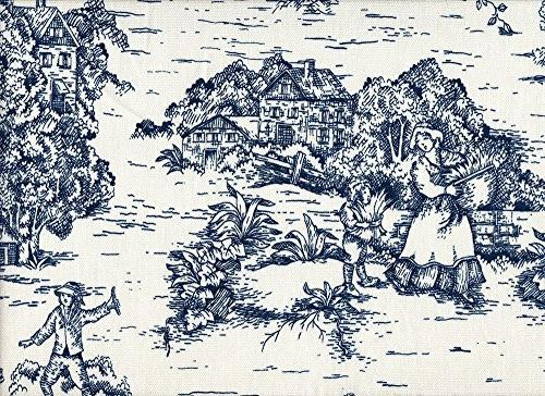 french country toile nautical blue