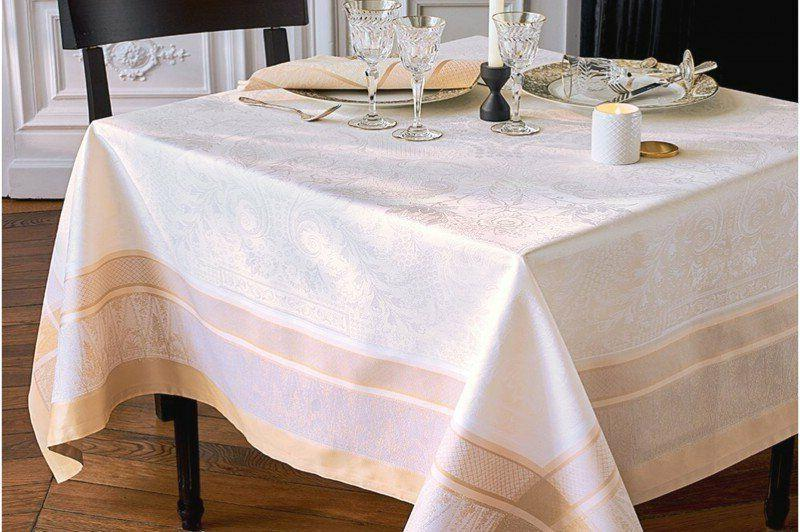 GARNIER-THIEBAUT FRENCH JACQUARD TABLECLOTH, STAIN-RESISTANT