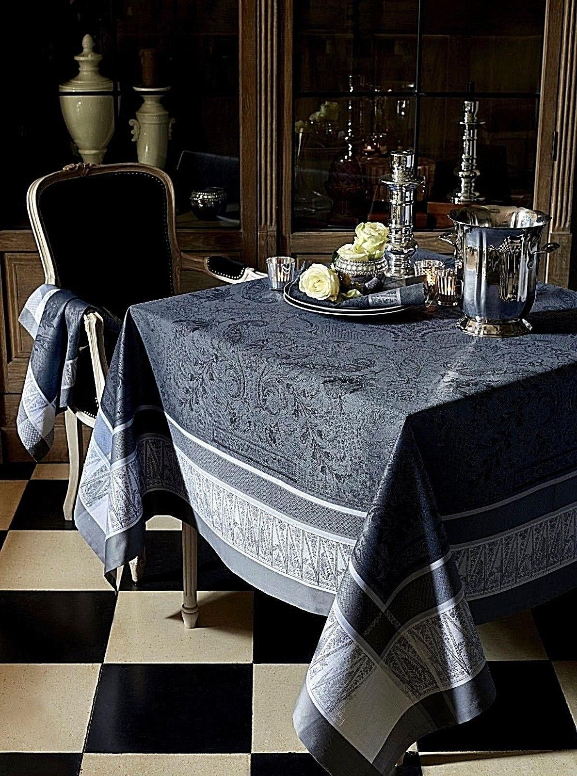 garnier thiebaut persina french cotton jacquard tablecloth
