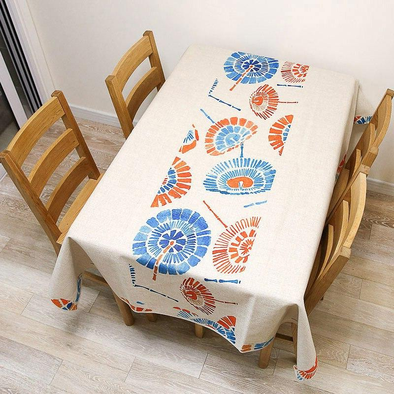 geometric painted cotton and linen tablecloth ethnic