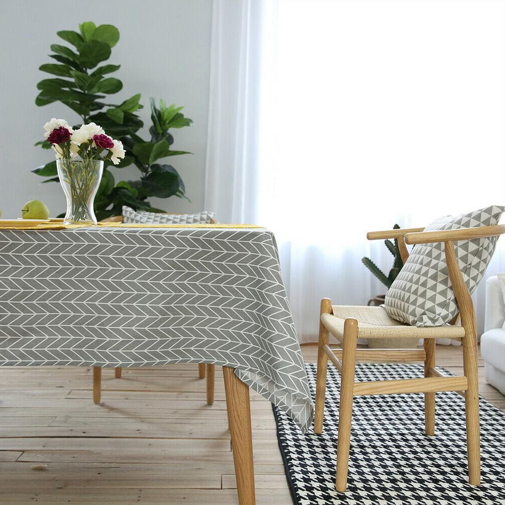 Geometry Teak Dining Cloth Cotton Tablecloth Cover Decor