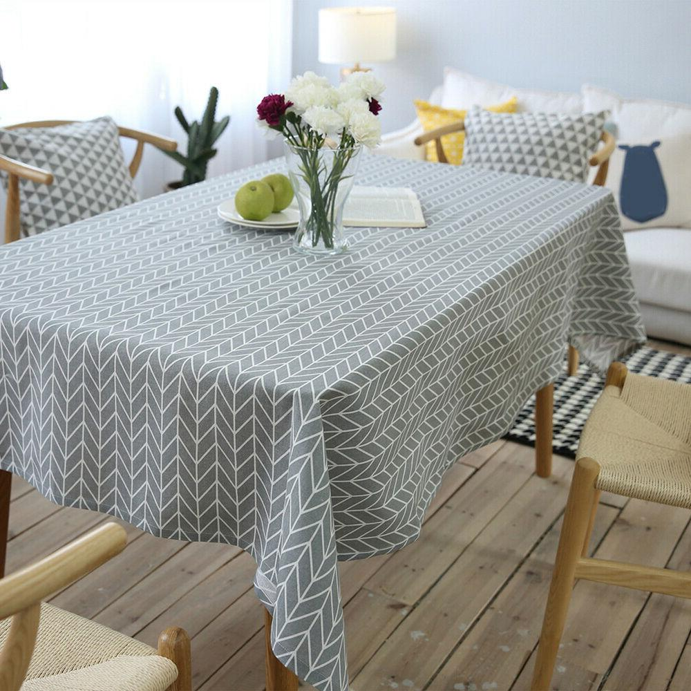 geometry teak dining table cloth cotton linen
