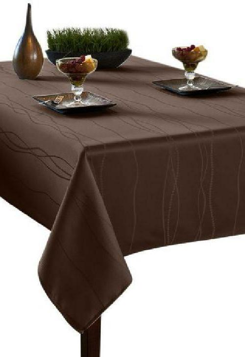 gourmet spillproof fabric tablecloth chocolate 60 inch