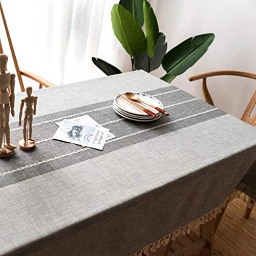MoMA Gray Stitched Table Cloth Linen Kitchen Fabric Table Decorative Cover - Cover C