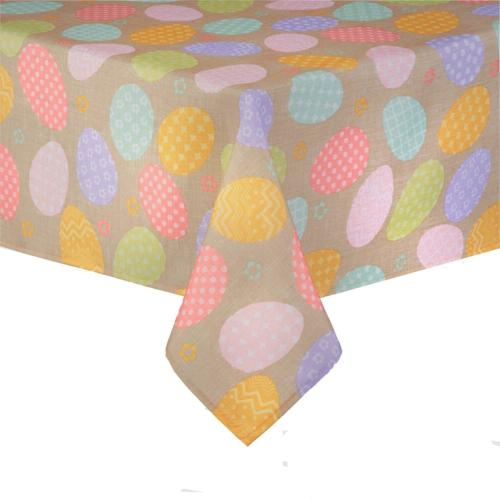 Happy Easter Decorated Eggs Print Fabric Tablecloth 60 x 84